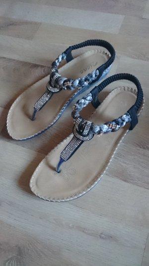 Flip Flops schwarz mit Tuch