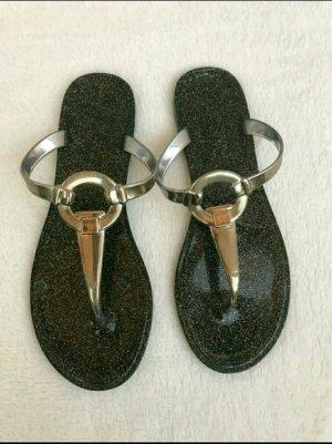 Flip-flops silber schwarz in gr. 37