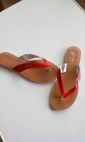 Guess Sandalias de tacón rojo ladrillo Cuero