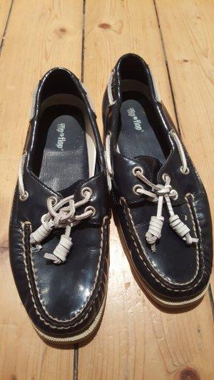 Flipflop Bootsschuhe dunkelblau weiß Gr. 37 Leder