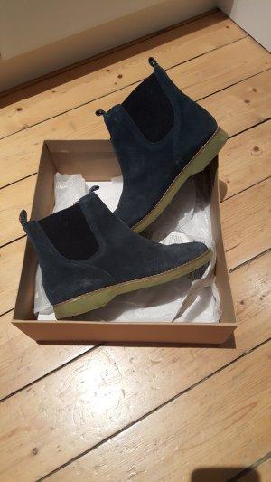 Flipflop Chelsea Boots dunkelblau mit grüner Sohle Gr. 37