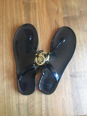 Ralph Lauren High-Heeled Toe-Post Sandals black