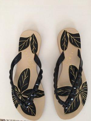 Sandalo infradito nero-crema Pelle