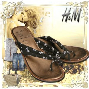 High-Heeled Toe-Post Sandals brown-white cotton