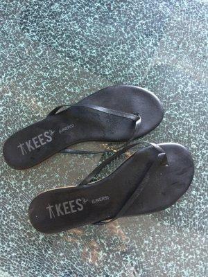 Sandalo infradito blu neon-nero Pelle