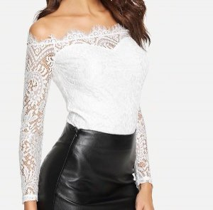 Floral Lace Overlay Bardot Bodysuit