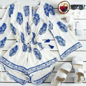Floral Print Casual Beach V-neck Jumpsuit