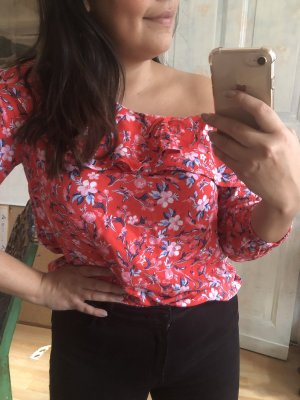 H&M Flounce Top red-blue