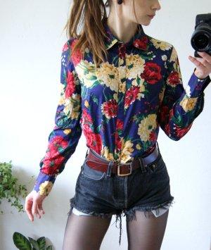Florale Bluse Dunkelblau, vintage Bluse Rosen, blogger
