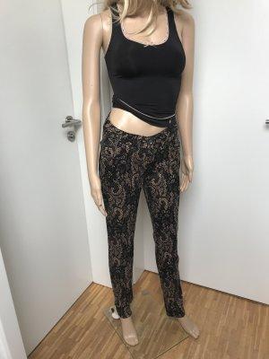 Biba Pantalone elasticizzato nero-beige Cotone