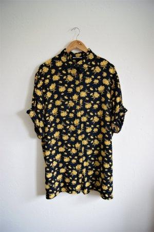 Florale vintage Bluse oversized, geblümte Longbluse gelb, boho Festival