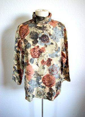Florale vintage Seidenbluse, Turtle Neck oversized Bluse mit Rosenmuster 80er