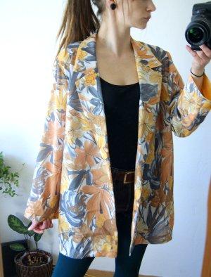 Floraler vintage Kimono-Überzieher, gelb geblümter oversize Cardigan Stoffjäckchen, boho Hippie