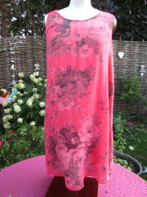 florales, ärmelloses, 2-teiliges Trägerkleid, korallenfarbig