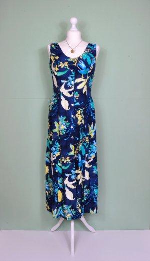 Florales Kleid in Blau mit Bindebänder mit Knopfleiste
