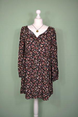 Florales Langarm Kleid mit Knöpfen
