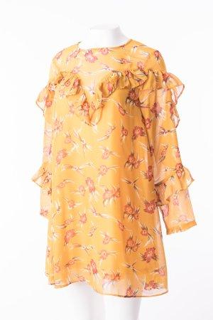 Florales Langarmkleid mit Volants Senfgelb Gr. M