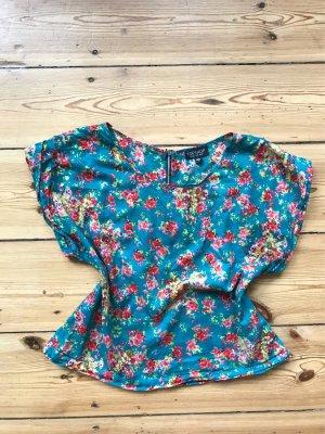 Florales Shirt aus Baumwolle mit Reißverschluss