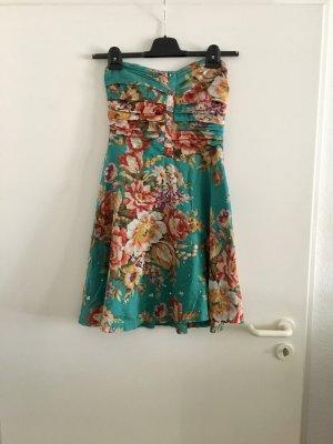 Florales Sommerkleid mit Gürtel | Bandeau-Kleid Bandeaukleid | 50ies Kleid