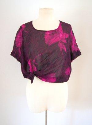 Florales vintage crop Shirt lila-pink, transparentes oversized Shirt, Festival boho blogger