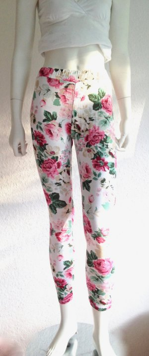 Flower Leggings Weiss Bunt Onesize New