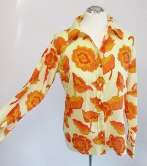 Flower Power Bluse Amisu Größe L 40 Langarm Hippie Orange Gelb Blumen Muster Hemd Retro