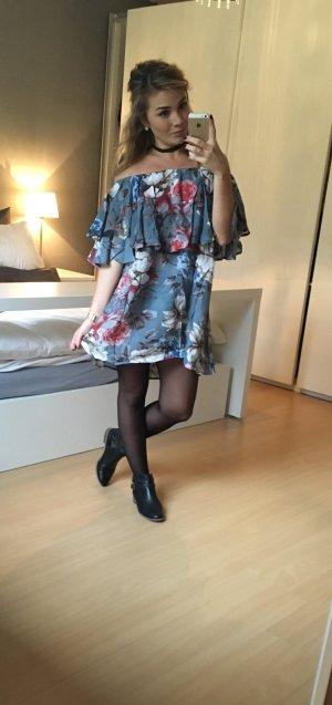 Flower Power - Schulterfreies Kleid