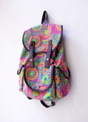 flowerpower rucksack backpack bunt festival sommer