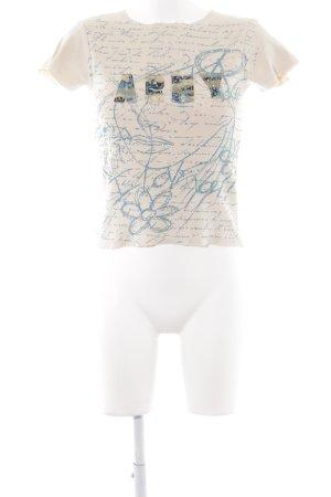Fluide Rippshirt beige-neonblau Schriftzug gestickt Glitzer-Optik