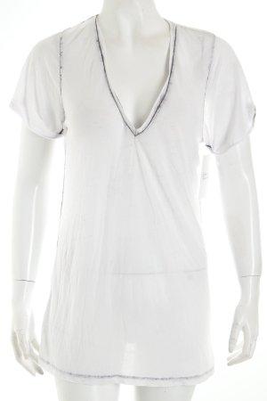fluxus V-Ausschnitt-Shirt weiß-grau Washed-Optik