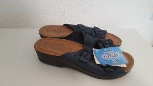 T-Strap Sandals dark blue leather