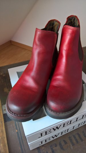 Fly london Stivale Chelsea rosso scuro Pelle