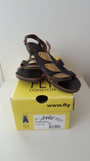 Fly London roman style sandals in black/gold, size 37