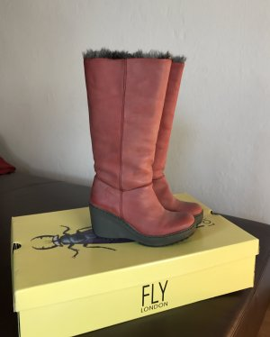 Fly London Winterstiefel Stiefel Gr. 36 rot, Leder, wie Neu, TOP