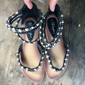 Toe-Post sandals dark brown-white