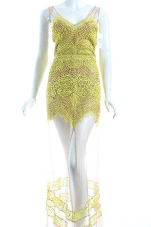 For Love & Lemons Abendkleid nude-gelb Häkel-Detail