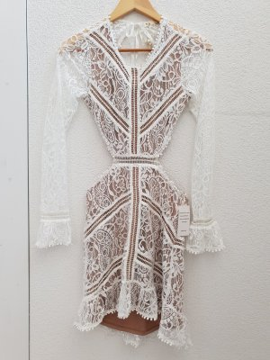 For Love & Lemons Kanten jurk wit-nude Polyester