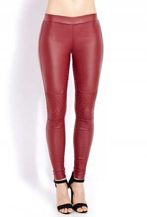 forever 21 Biker Jeggings Leggings dunkelrot bordeaux Gr. L neu