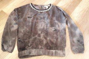 Forever 21 Bluse Blusenshirt Batik Glitzer Strass Zipper Dip Dye