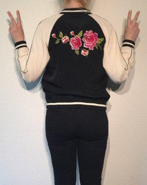 Forever 21 Bomberjacke mit Blumenprint hinten S