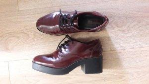 Forever 21 Chaussure Oxford bordeau-noir faux cuir