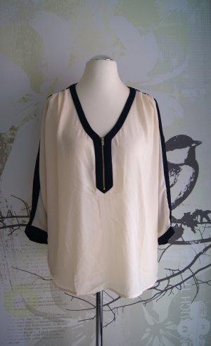 Forever 21 Contemporary Chiffon-Bluse, creme/dunkelblau, Gr. L NEU