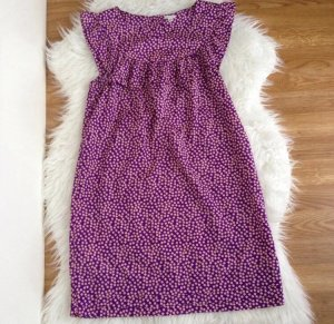FOREVER 21 Gr. S Kleid Bluse Tunika Volant Lila Rüschen Muster Sommerkleid Retro