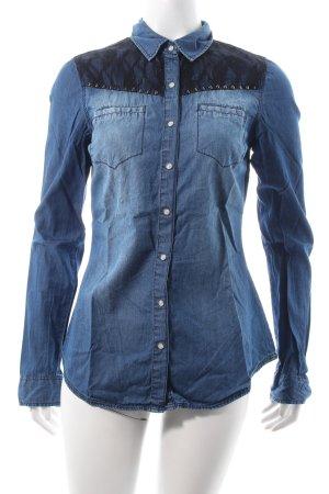 Forever 21 Jeansbluse blau-schwarz Biker-Look