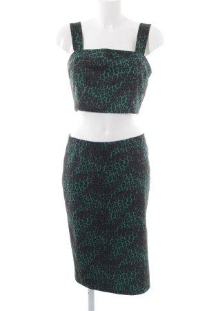 Forever 21 Jersey Twin Set grün-schwarz Leomuster extravaganter Stil