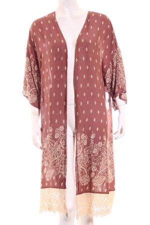 Forever 21 Kimono altrosa-creme Ornamentenmuster Boho-Look