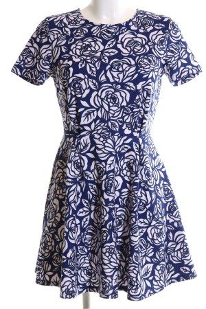 Forever 21 Kurzarmkleid blau-weiß Blumenmuster Casual-Look