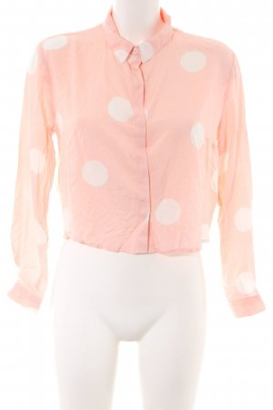Forever 21 Langarm-Bluse pink-creme Punktemuster Casual-Look