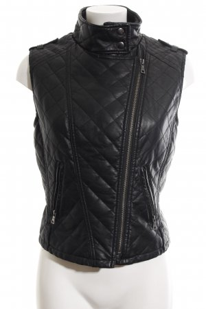 Forever 21 Leather Vest black quilting pattern casual look