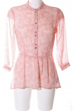 Forever 21 Long-Bluse pink-weiß Allover-Druck Casual-Look